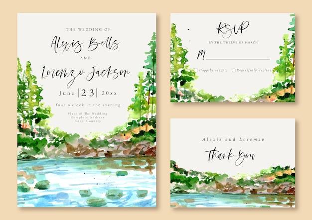 Invitación de boda acuarela verano lago y árboles