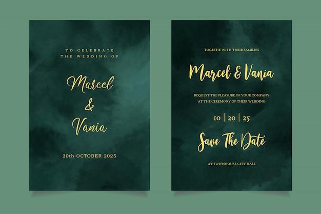 Invitación de boda de acuarela verde oscuro de lujo