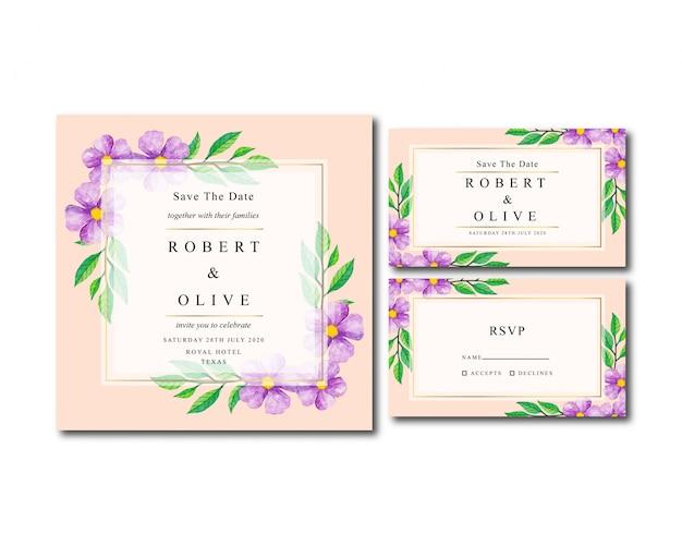 Invitación de boda acuarela vintage floral simple