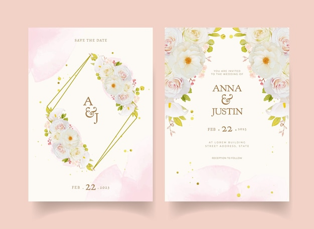 Invitación de boda con acuarelas rosas blancas y alcatraces vector gratuito