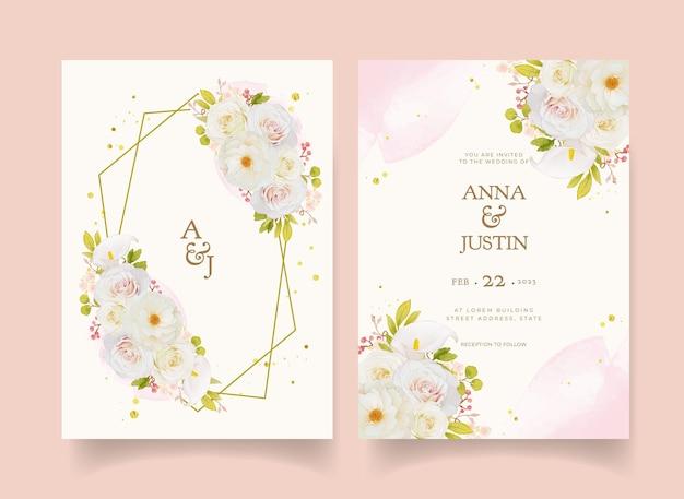 Invitación de boda con acuarelas rosas blancas y alcatraces