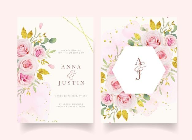 Invitación de boda con acuarelas rosas rosadas y adornos dorados