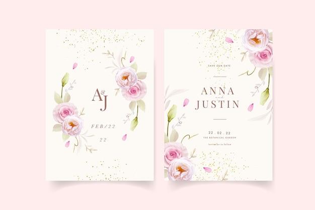 Invitación de boda con acuarelas rosas rosadas