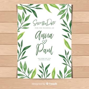 Invitación de boda adorable con hojas en acuarela