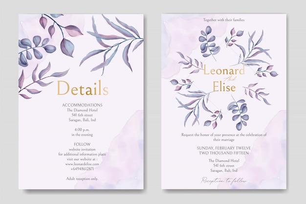 Invitación de boda con adornos florales y fuente de oro