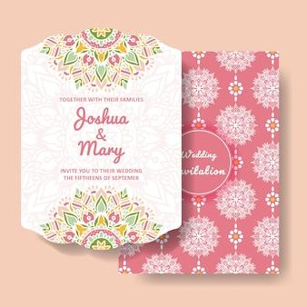 Invitación de boda con adornos de mandala