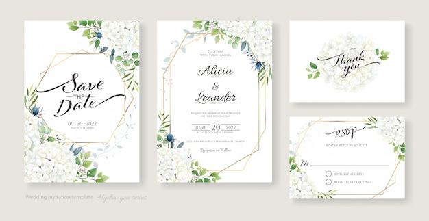 Invitación de boda, ahorre la fecha, gracias, plantilla de diseño de tarjeta rsvp. flores de hortensias blancas con vegetación.
