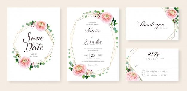 Invitación de boda, ahorre la fecha, gracias, plantilla de tarjeta rsvp. ranunculus flor y vegetación.