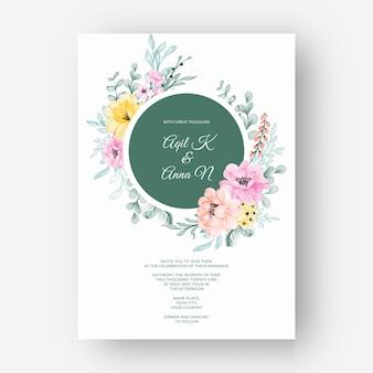Invitación de boda amarilla hermosa del color del marco de la flor rosa pastel