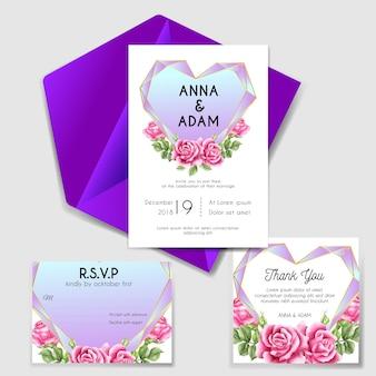 Invitación de boda con amor diamante rosa rosa