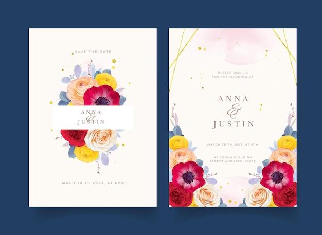 Invitación de boda con anémona rosa roja acuarela y flor de ranúnculo