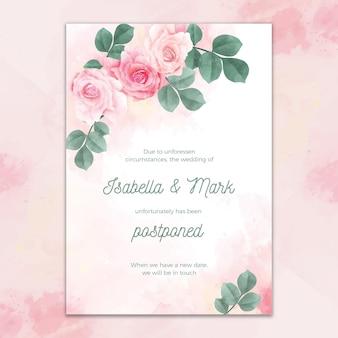 Invitación de boda aplazada de diseño de acuarela