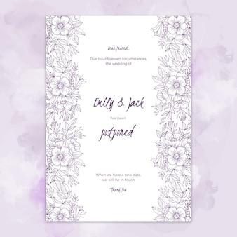 Invitación de boda aplazada estilo dibujado a mano