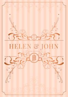 Invitación de la boda del art nouveau del oro color de rosa del vintage