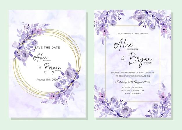 Invitación de boda azul con flores.
