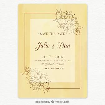 Invitación de boda beige dibujada a mano