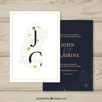 Invitación de boda en blanco y negro
