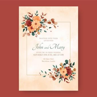 Invitación de boda boho acuarela pintada a mano