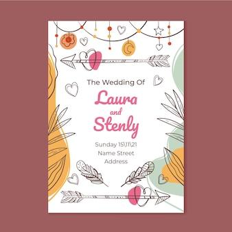 Invitación de boda boho detallada