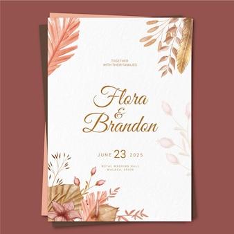Invitación de boda boho pintada a mano