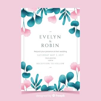 Invitación de boda bonita con flores y hojas de acuarela