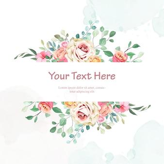 Invitación de boda bonita con marco floral