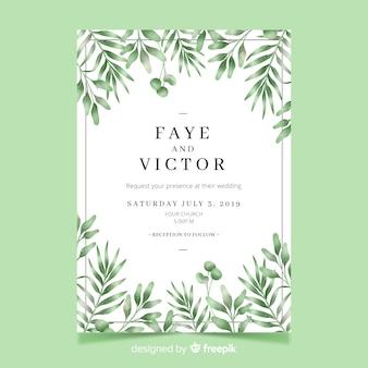 Invitación de boda bonita con plantilla de hojas de acuarela