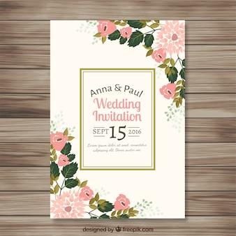 Invitación de boda con bonitos detalles florales