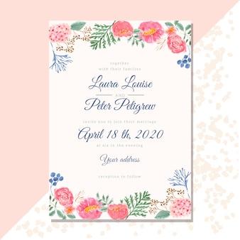 Invitación de boda con borde floral acuarela