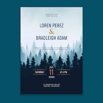 Invitación de boda del bosque de niebla