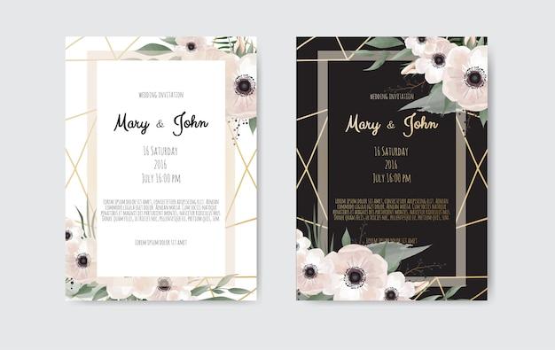 Invitación de boda botánica plantilla de tarjeta de diseño, flores blancas y rosadas.