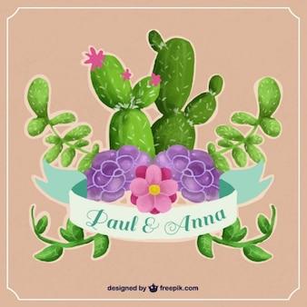 Invitación de boda con cactus de acuarela