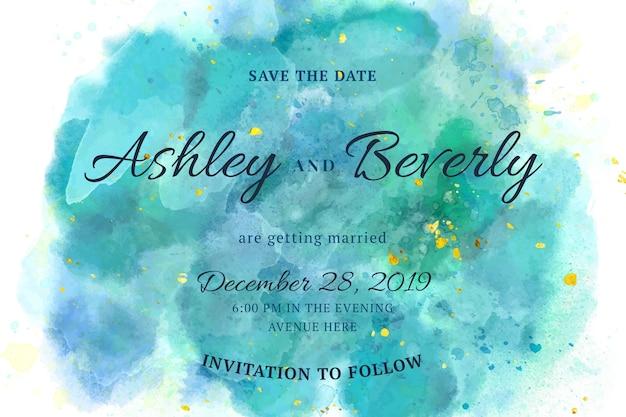 Invitación de boda caligráfica con manchas de acuarela