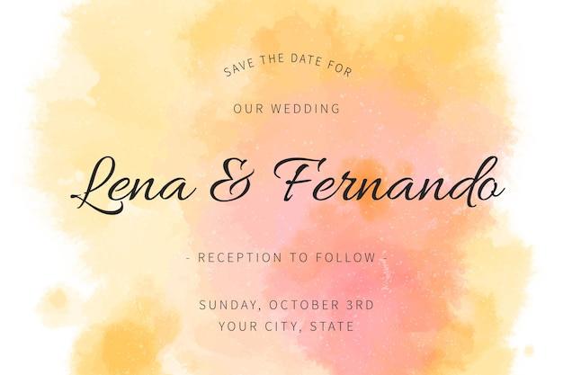 Invitación de boda caligráfica con tonos naranja degradados