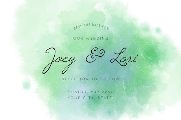 Invitación de boda caligráfica con tonos verdes.