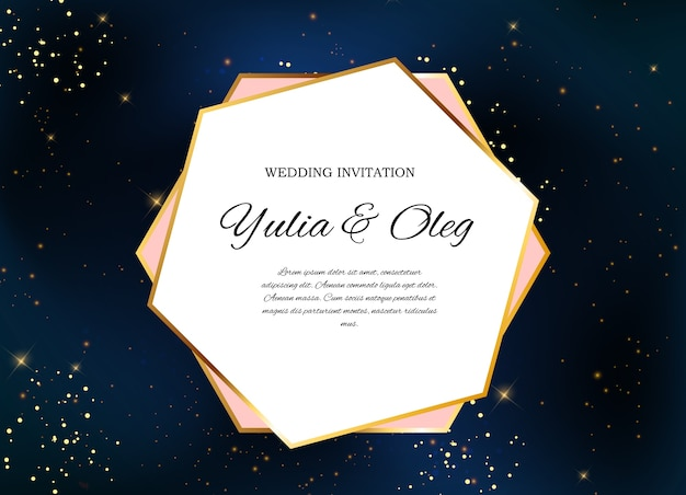 Invitación de boda con cielo nocturno y estrellas
