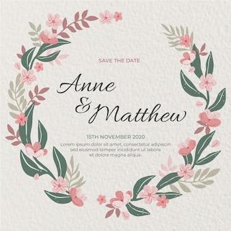 Invitación de boda circular con flores dibujadas a mano