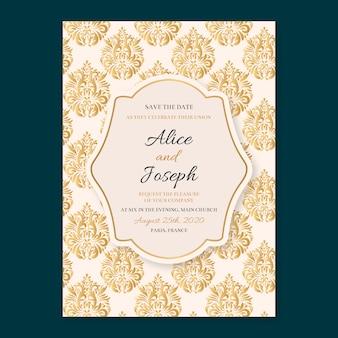 Invitación de boda clásica estilo damasco