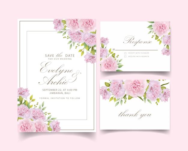 Invitación de boda claveles rosas florales