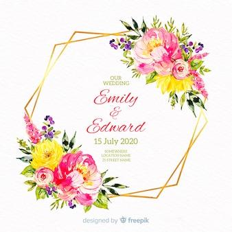 Invitación de boda colorida acuarela marco floral