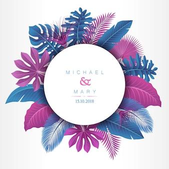 Invitación de boda con concepto de hojas tropicales
