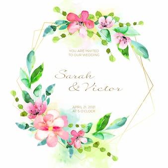 Invitación de boda con concepto de marco floral