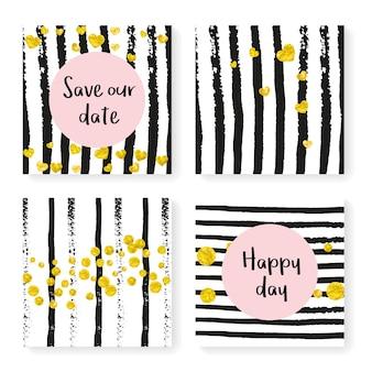 Invitación de boda con confeti brillante y rayas. puntos y corazones de oro sobre fondo blanco y negro. plantilla con invitación de boda para fiesta, evento, despedida de soltera, guardar la tarjeta de fecha.