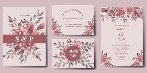 Invitación de boda, conjunto, de, acuarela, flor, granate