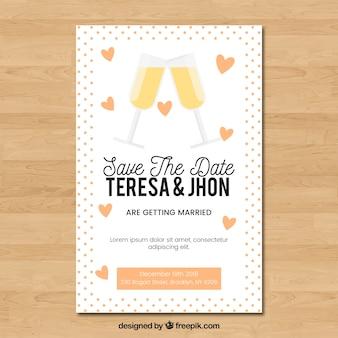 Invitación de boda con copas brindando