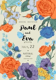 Invitación de boda con corona de anémonas y rosas.