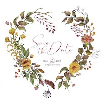 Invitación de boda con corona de corazón de otoño