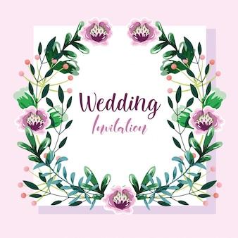 Invitación de boda, corona con flores y hojas plantilla floral