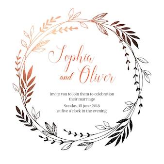 Invitación de boda. corona de laurel decorativa vintage.