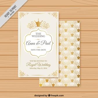 Invitación de boda con coronas doradas